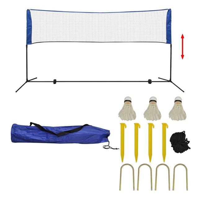 vidaXL Badmintonnät med fjäderbollar 300x155 cm