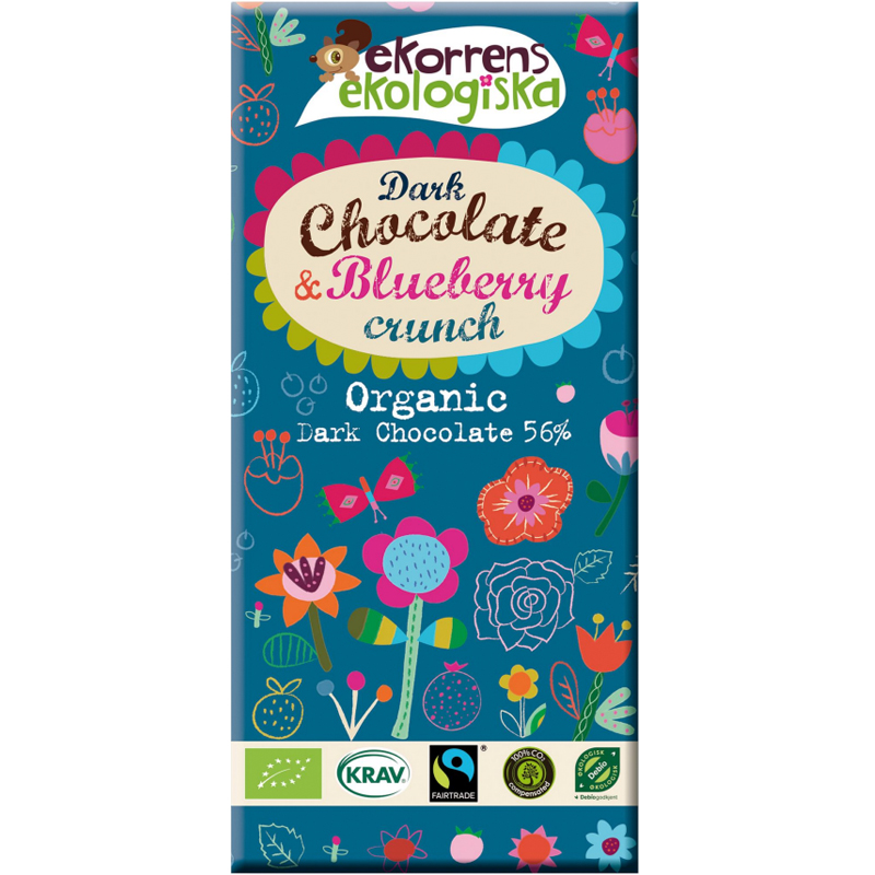 "Eko Mörk Choklad ""Blueberry Crunch"" 85g - 60% rabatt"