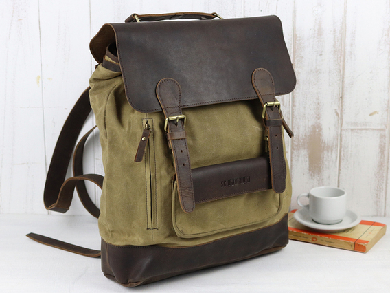 Large Leather and Canvas Backpack For Men