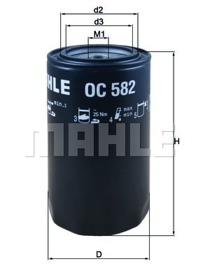 Öljynsuodatin MAHLE ORIGINAL OC 582