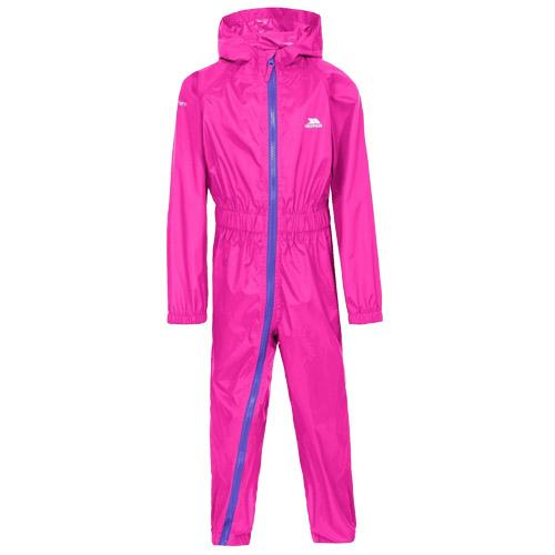 Trespass Kid's Waterproof All-In-One Suit Various Colours Button - Hot Pink 6 to 12 Months