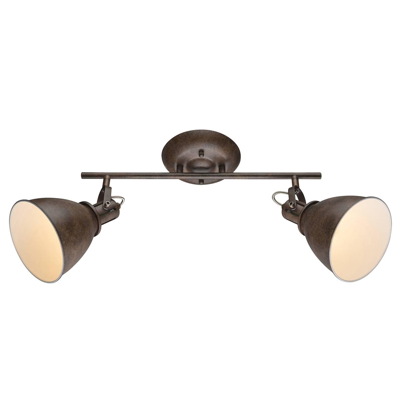 Ruosteenruskea kattokohdevalo Giorgio 2-lamppuinen