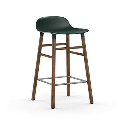 Form Barstol Grønn/Valnøtt 65 cm