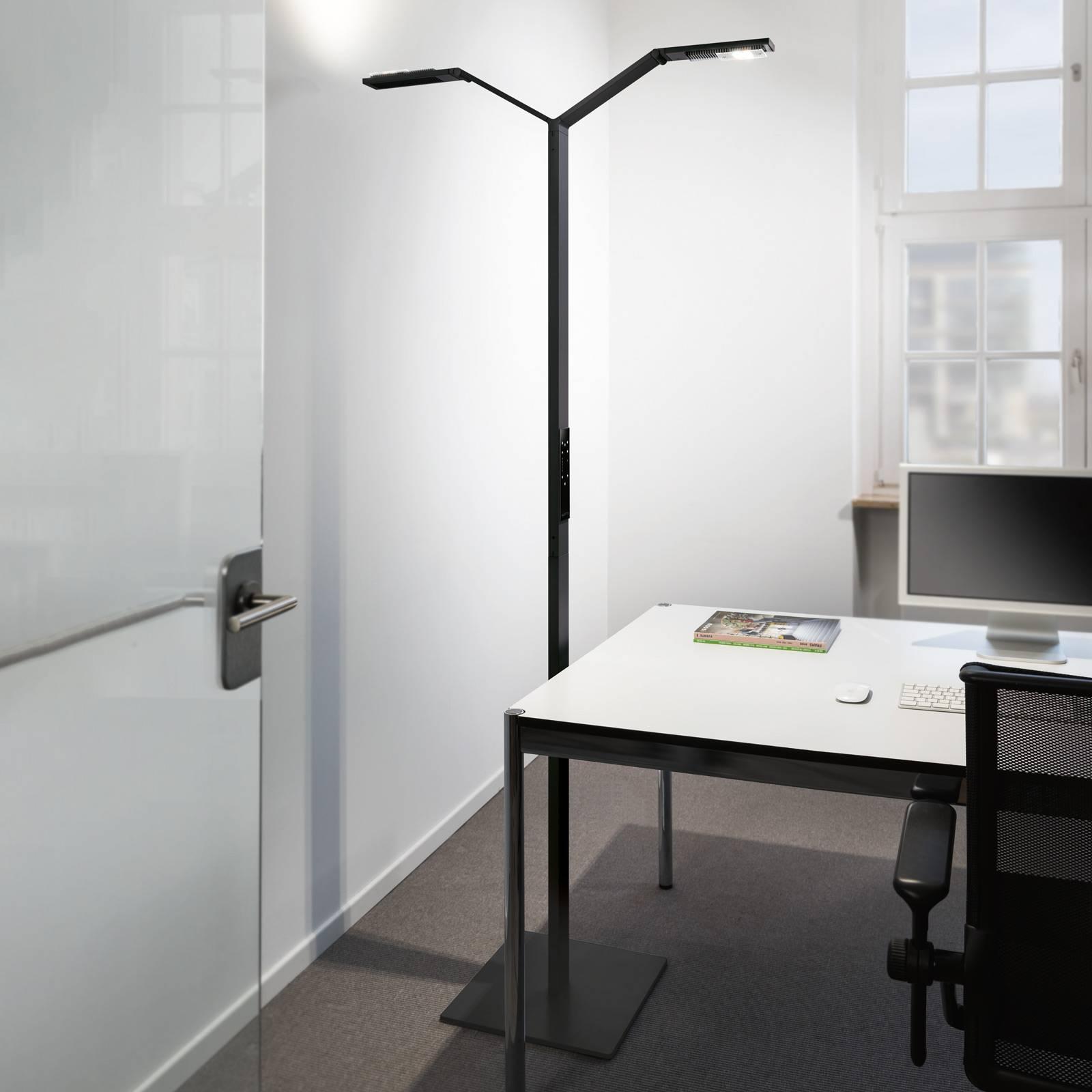 Luctra Floor Twin Linear LED-lattiavalaisin musta
