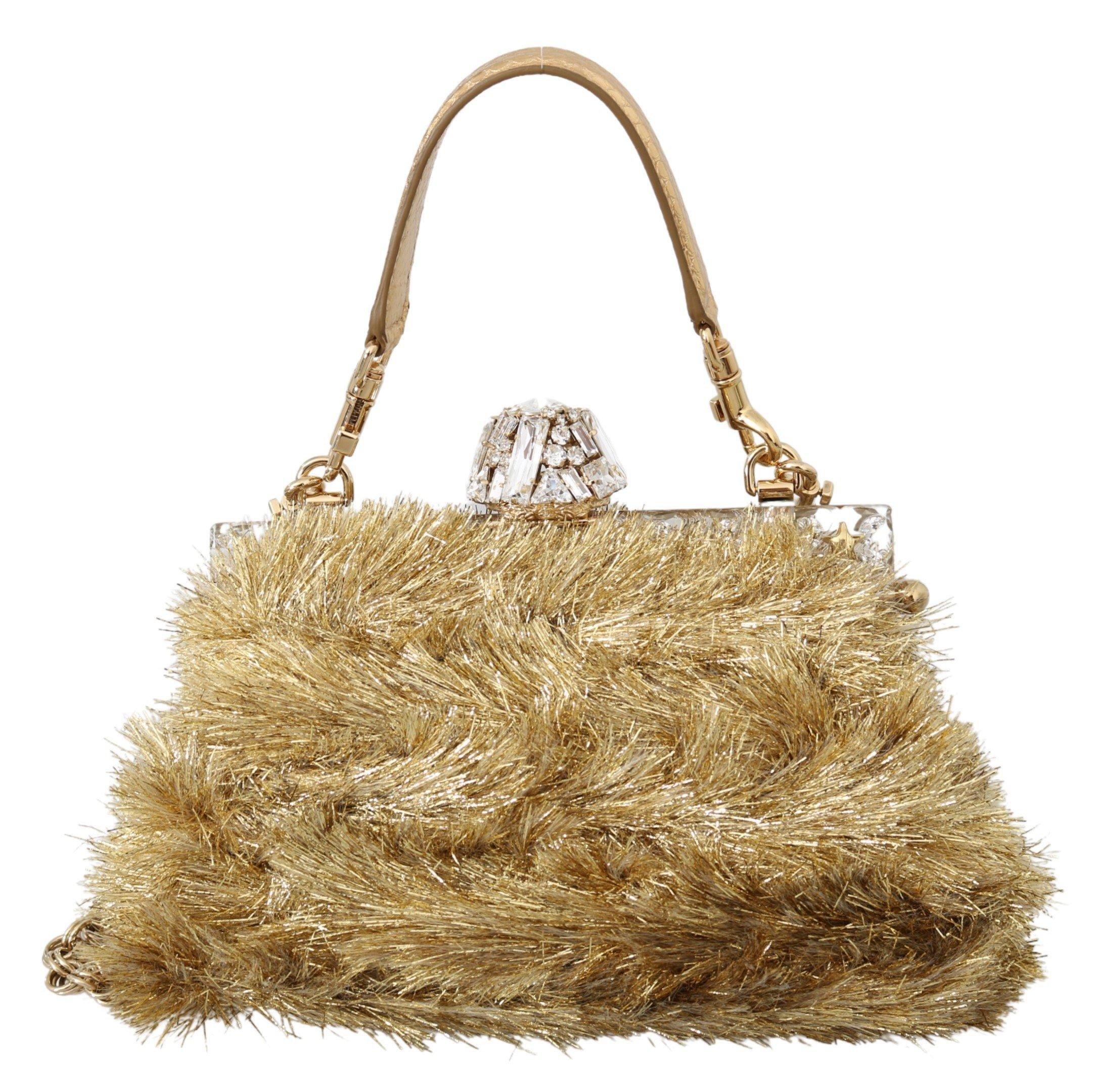 Dolce & Gabbana Women's Crystal VANDA Shoulder Bag Gold VAS9985