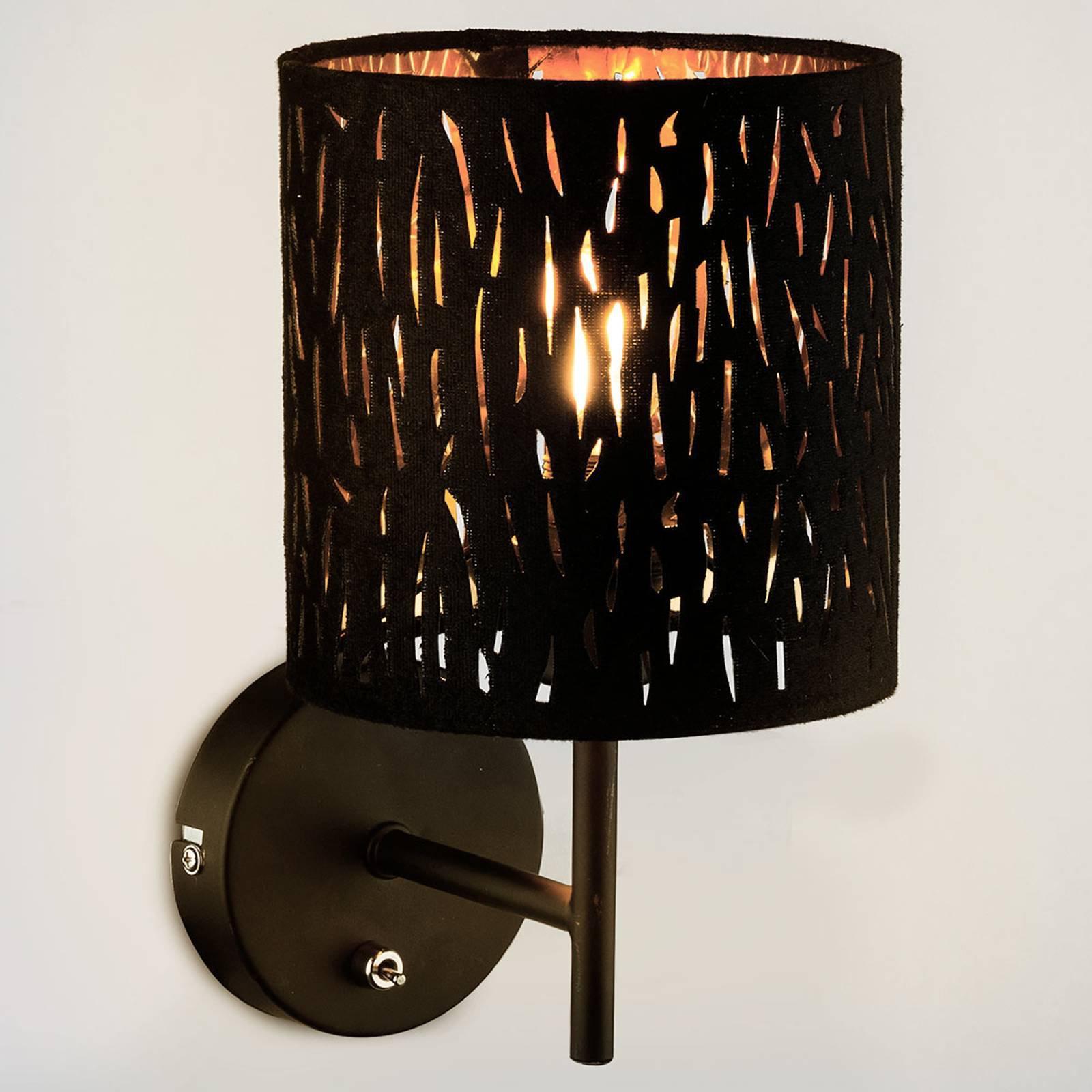 Vegglampe Tuxon med svart, gyllen skjerm