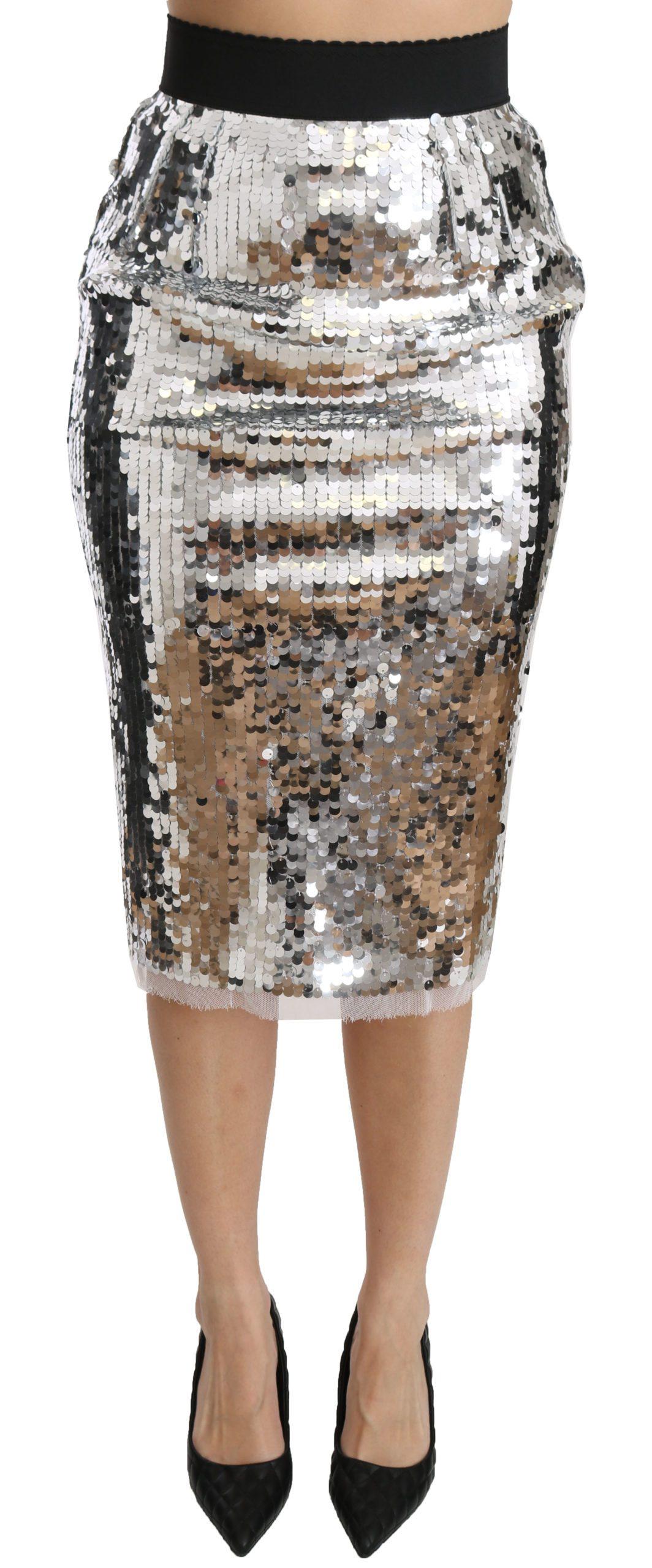 Dolce & Gabbana Women's Sequined Pencil Cut High Waist Skirt Silver SKI1369 - IT38|XS