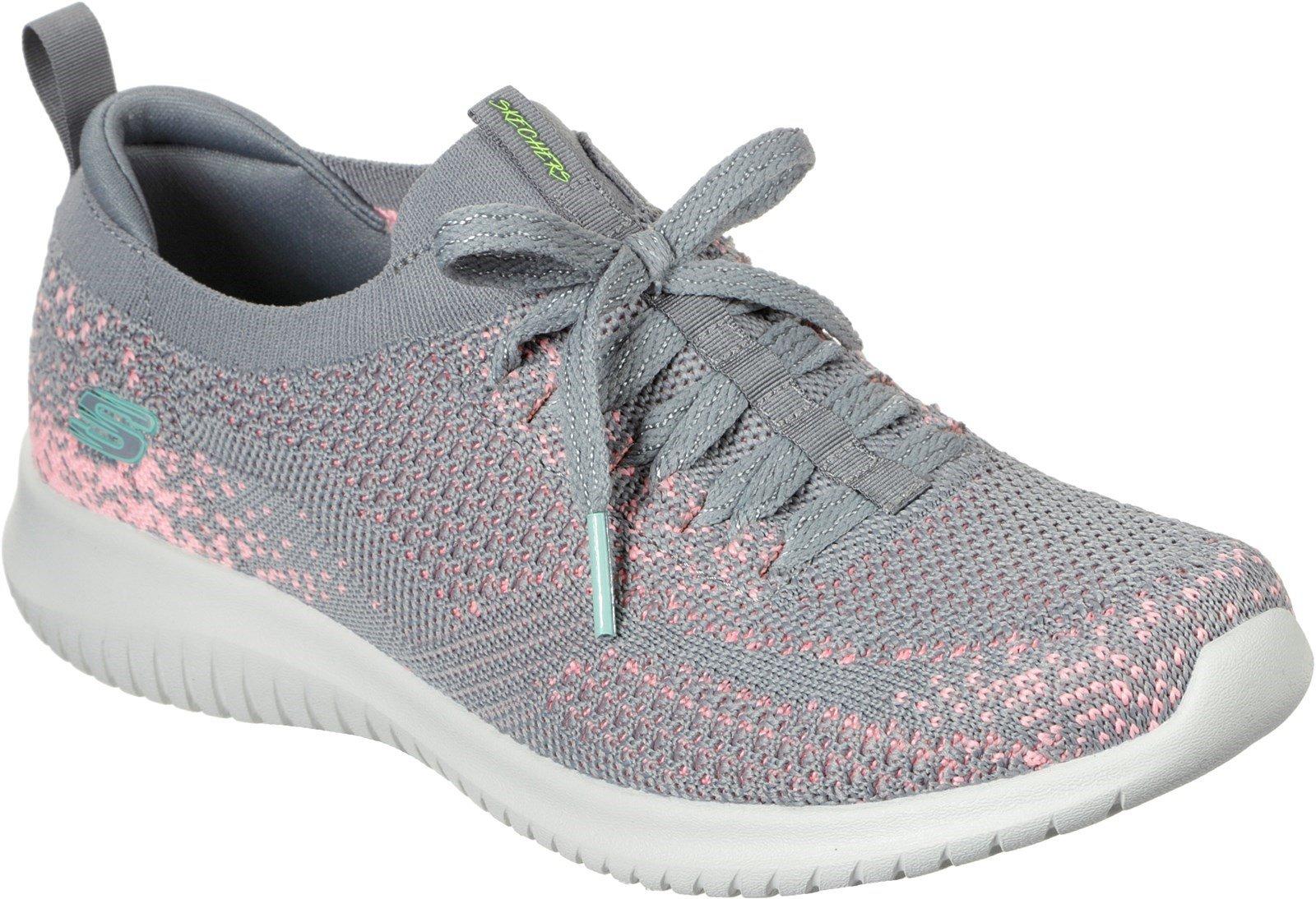 Skechers Women's Ultra Flex Twilight Twinkle Trainer Various Colours 31051 - Grey/Pink 3