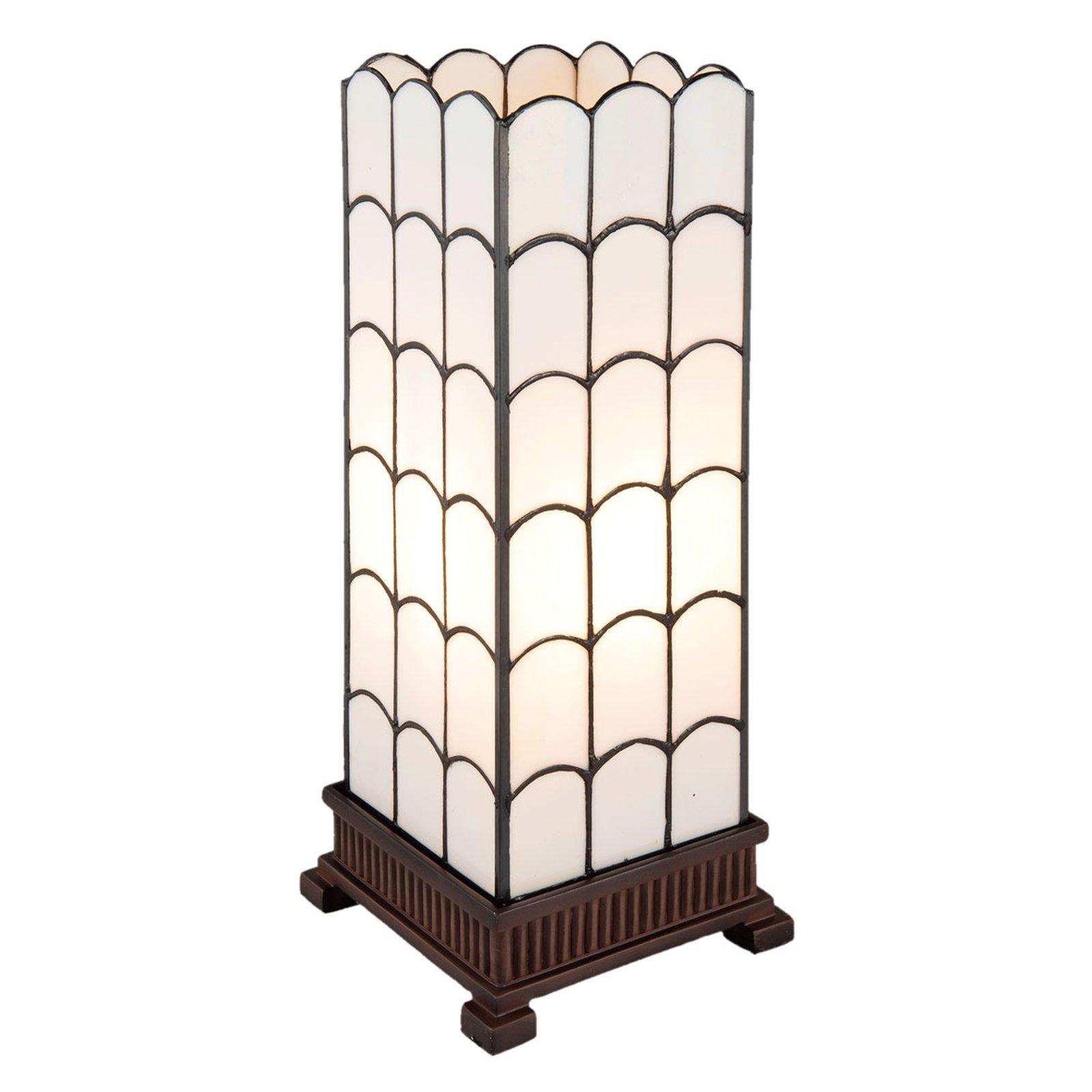 5930 bordlampe i hvitt, Tiffany-design, 45 cm