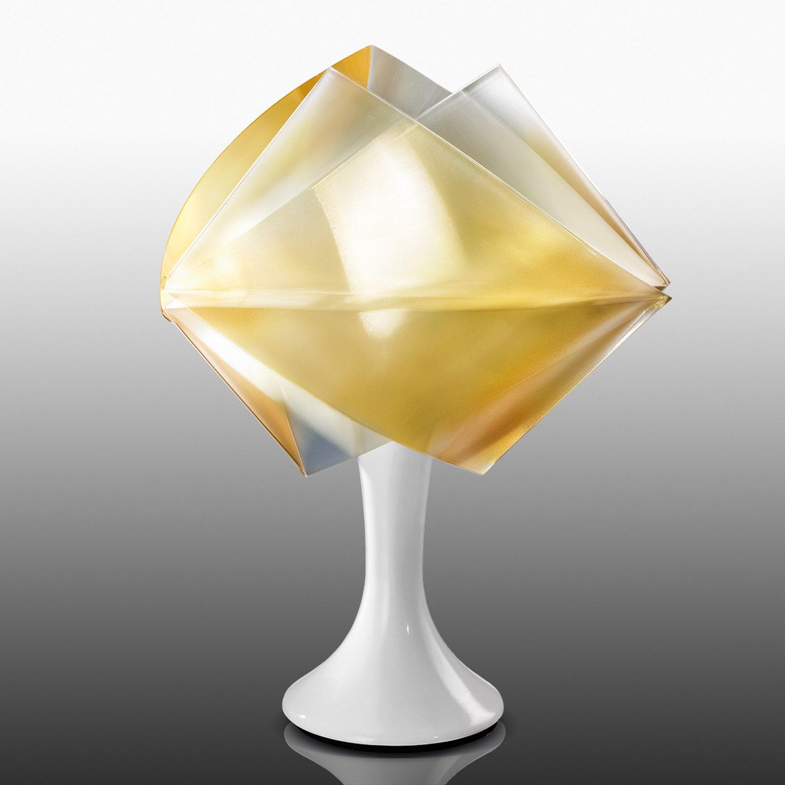 Gullfarget bordlampe Gemmy Prisma