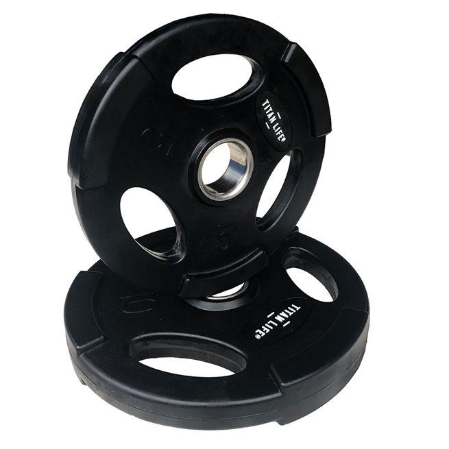 Titan LIFE Weight Disc Rubber. Ø50mm. Black, Viktskiva Gummerad