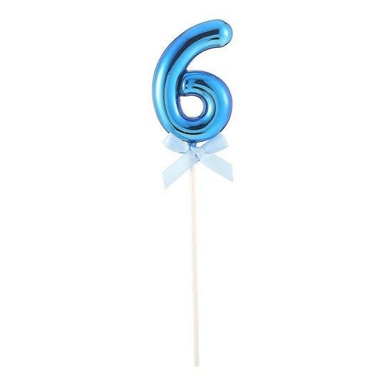 Tårtdekoration Siffra Blå med Rosett - Siffra 6