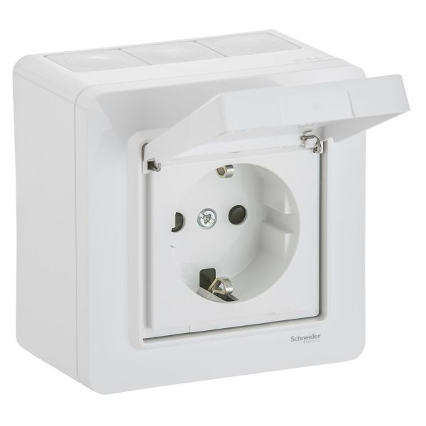 Schneider Electric WDE002978 Seinäpistorasia 1-osainen, ulkoinen, IP44, valkoinen