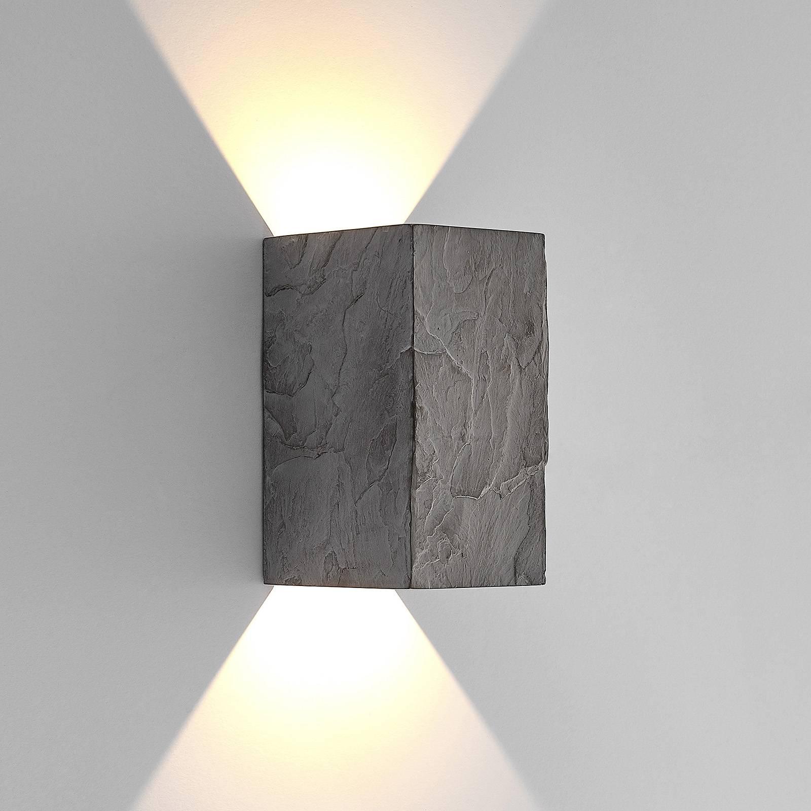 Lucande Vigga -LED-ulkoseinälamppu, liuskekivi