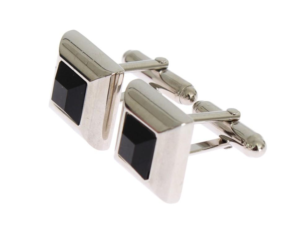 Dolce & Gabbana Men's Brass Stone Cufflinks Silver SIG31511
