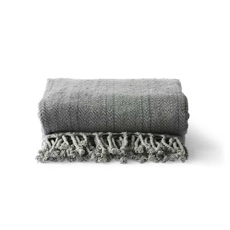 Brushed Filt Bomull Grå/Lila 130x170 cm