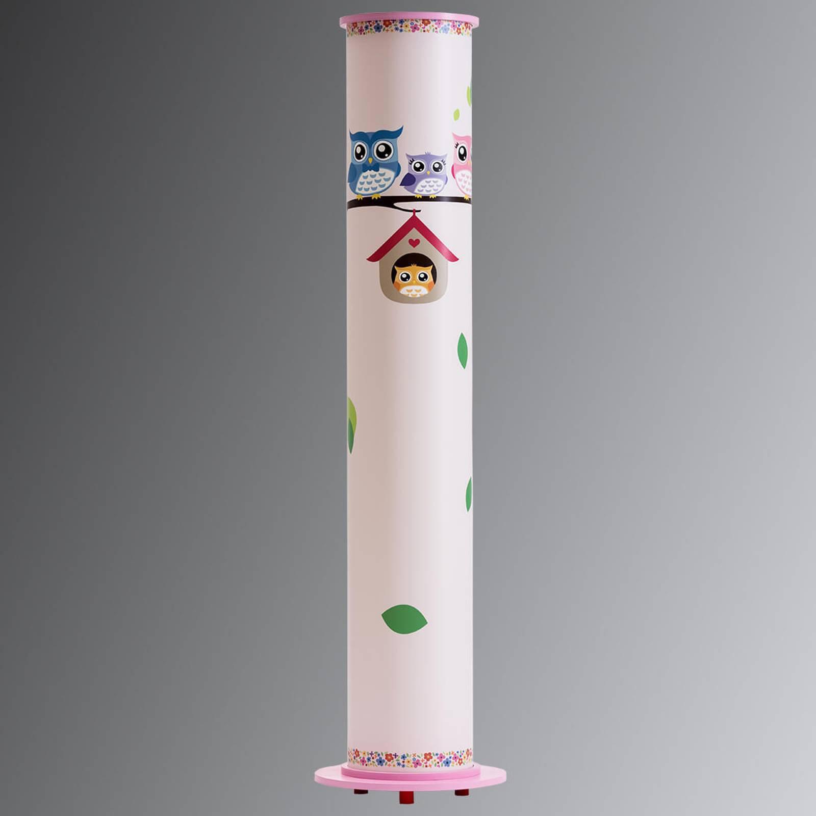 Gulvlampe Ugle til barnerom, hvit og rosa
