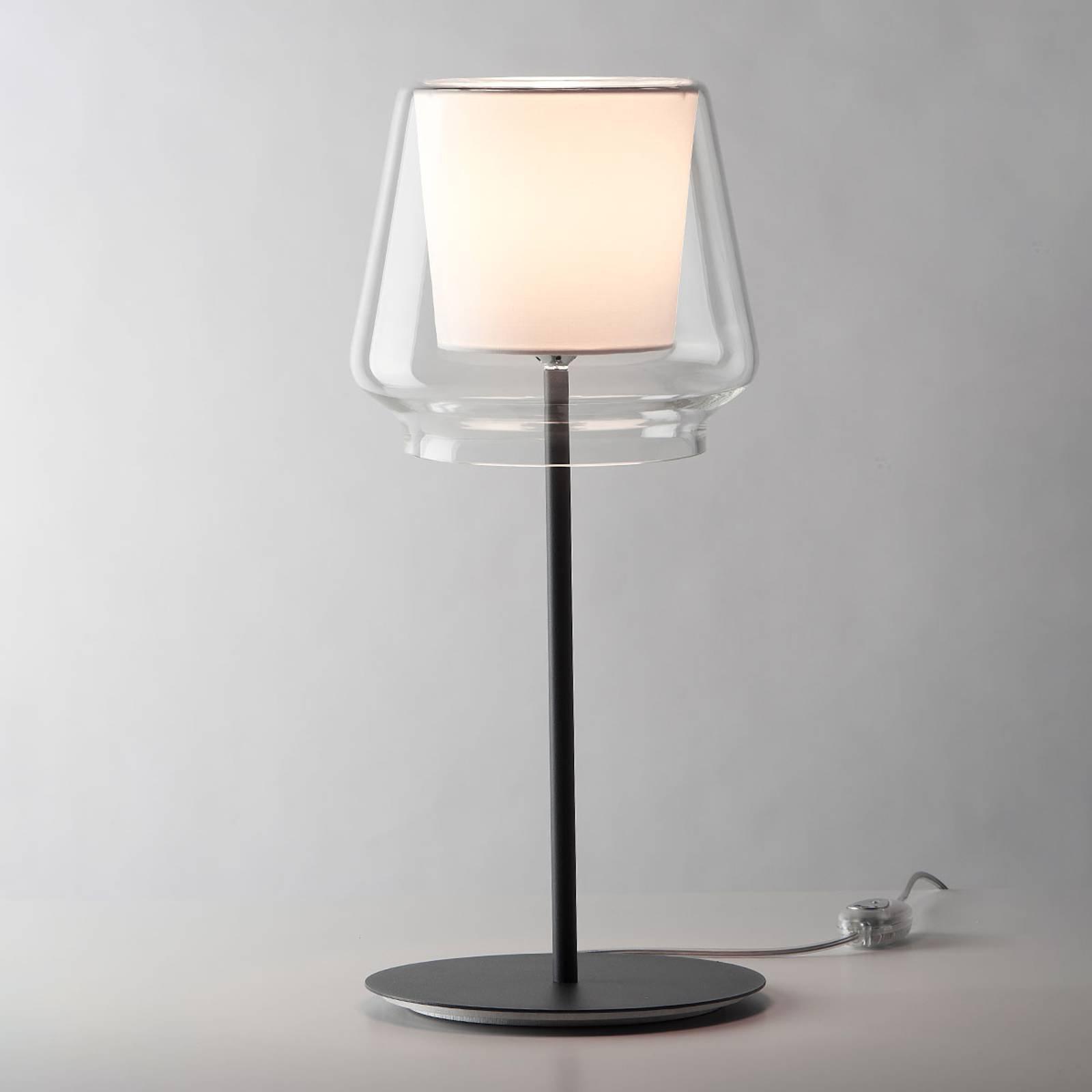 Casablanca Aleve - dimbar bordlampe, stoff hvit