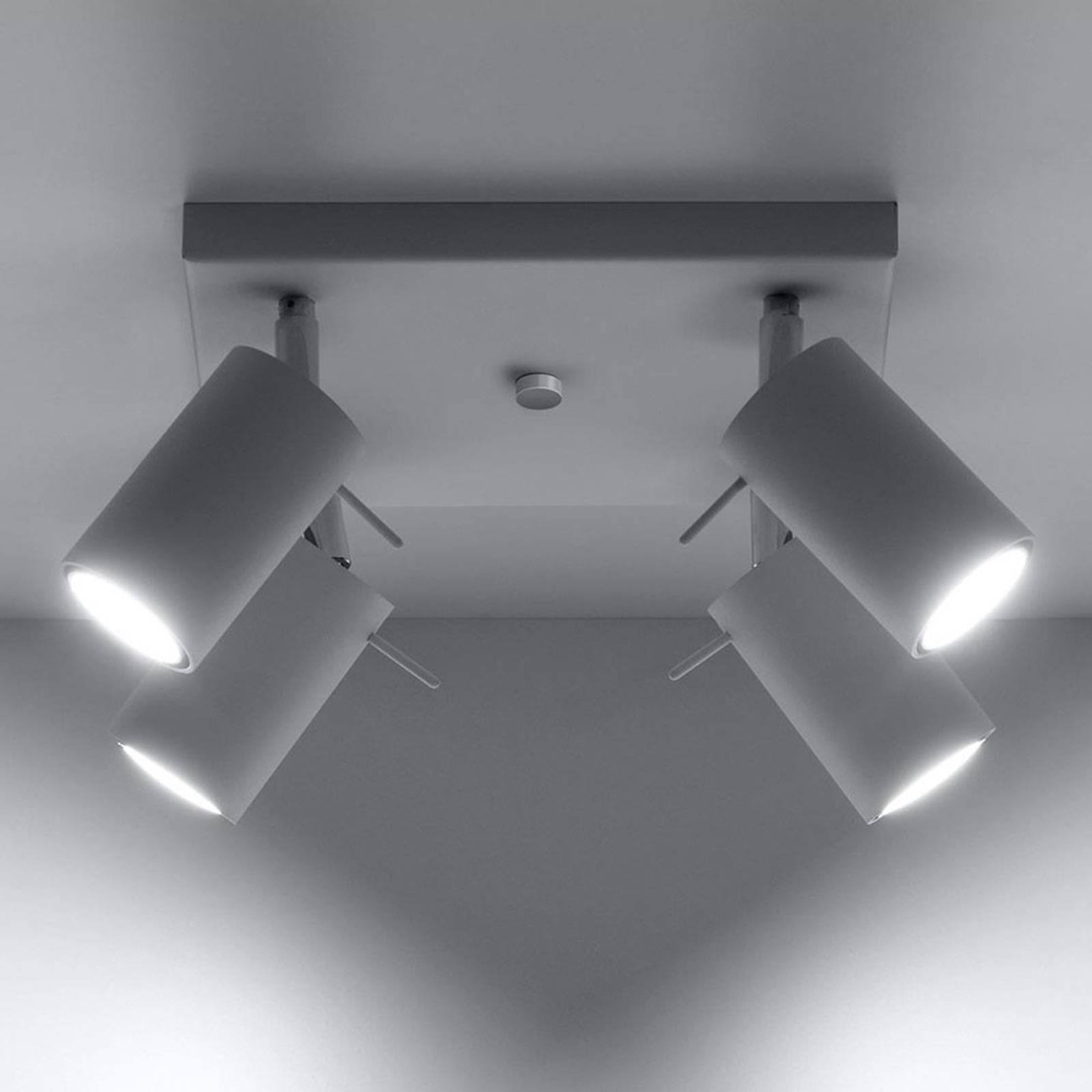 Kattokohdevalo Round, valkoinen, 4-lamppuinen