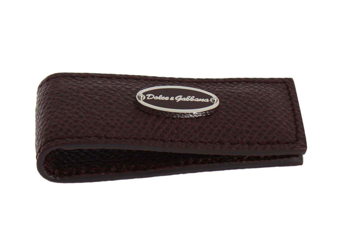 Dolce & Gabbana Men's Leather Magnet Money Clip Bordeaux SIG31663