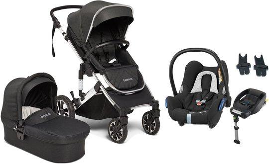 Beemoo Maxi 4 Duovogn Inkl. Maxi-Cosi Cabriofix Babybilstol + Base, Black/Silver