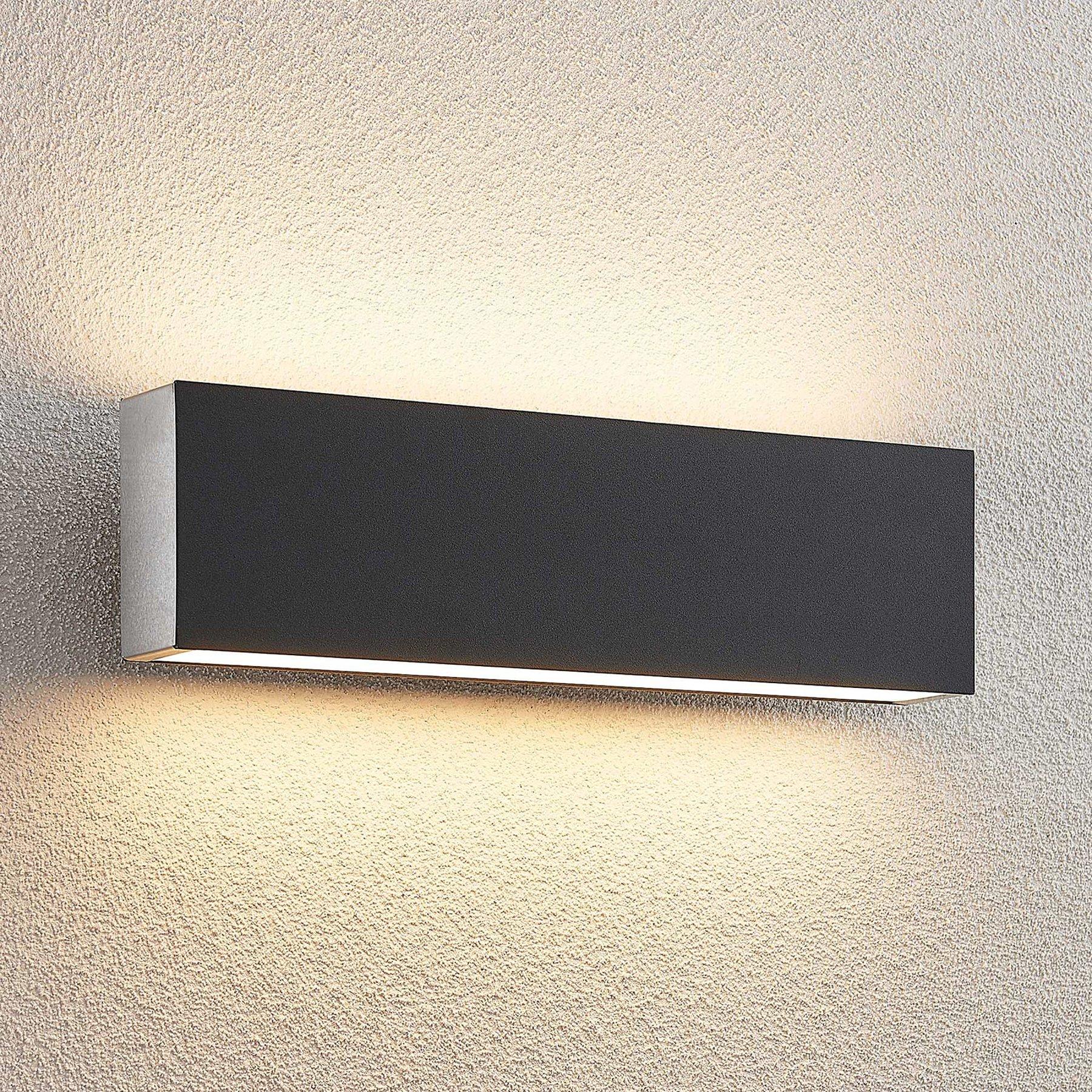 Lucande Aegisa LED utendørs LED-vegglampe, kantet
