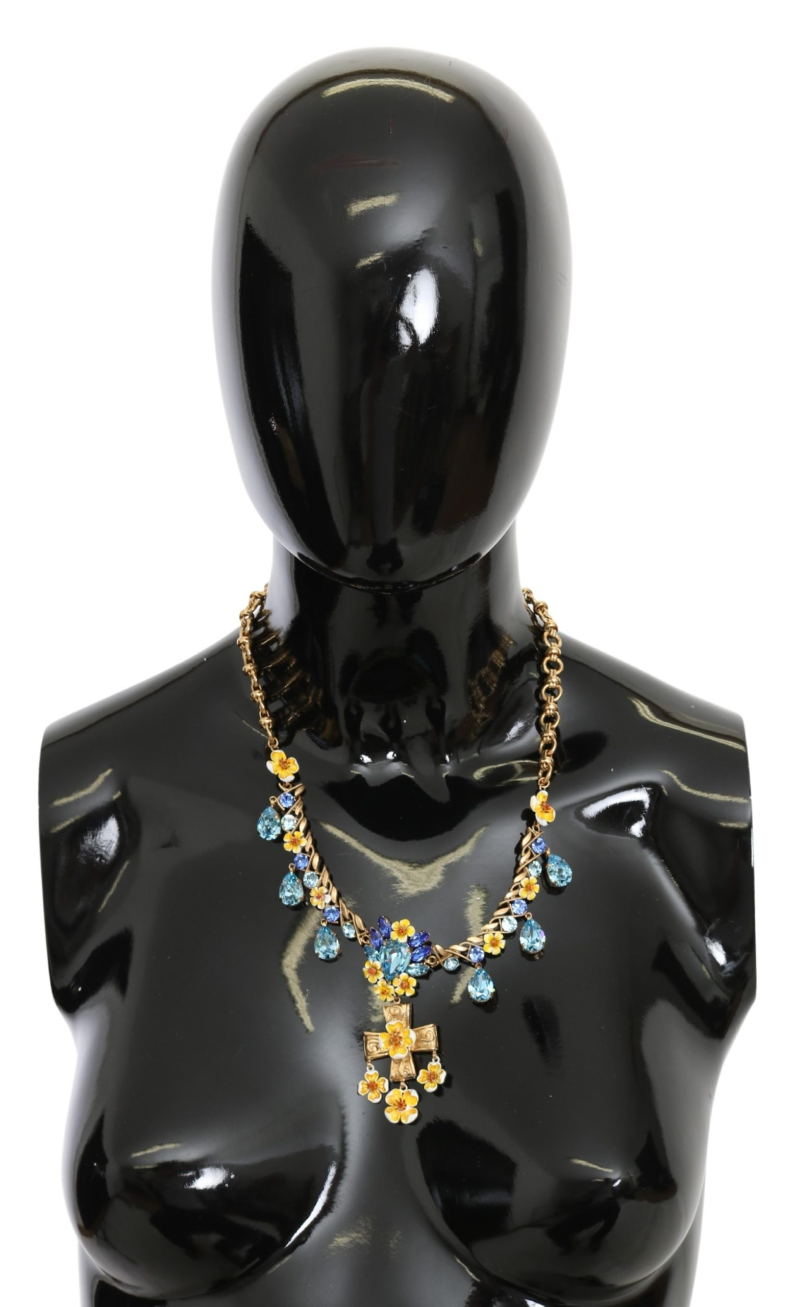 Dolce & Gabbana Women's Cross Crystal Floral Charm Necklace Blue SMY100204