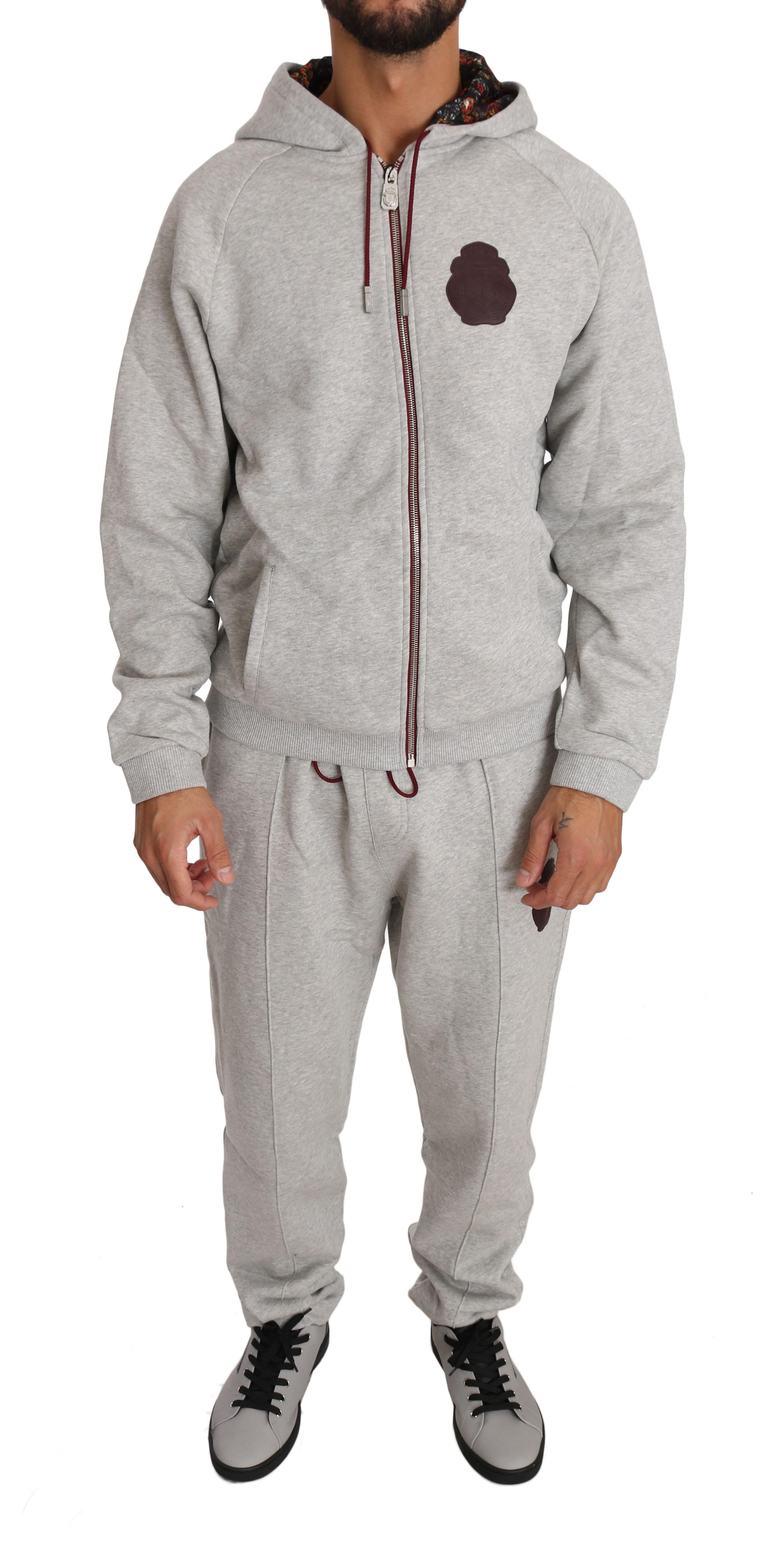 Billionaire Italian Couture Men's Hoodie Tracksuit Grey BIL1020 - XXL