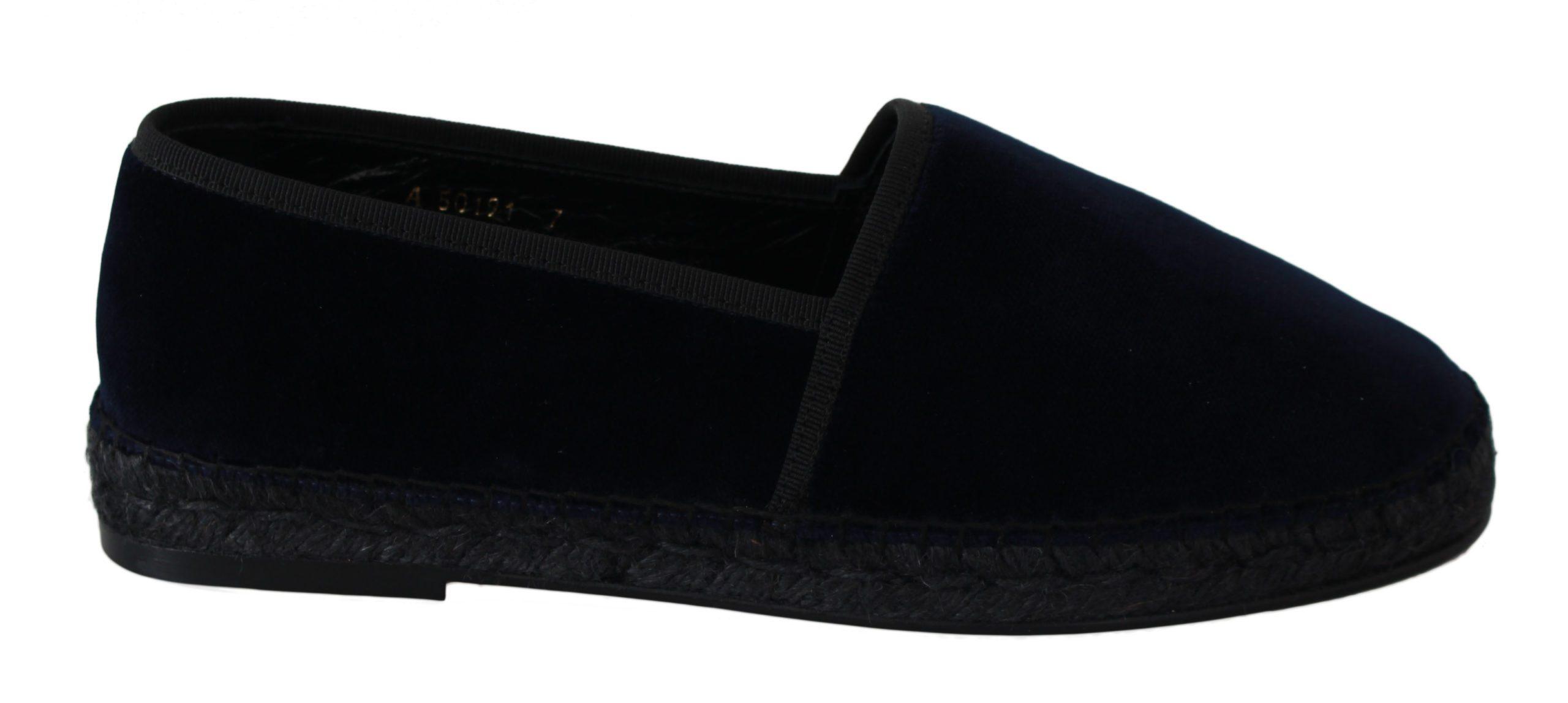 Dolce & Gabbana Men's Velvet Leather Espadrilles Flats Shoes Blue - EU41/US8