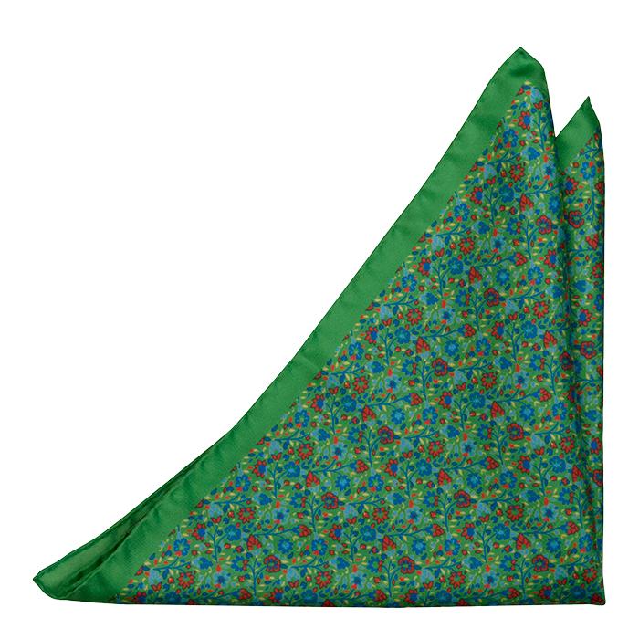 Silke Lommetørkler, Små blå & røde blomster på grønn base, Grønn, Blomster