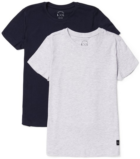 Luca & Lola Adelmo T-Shirt 2-pack, Grey Melange/Navy 134-140