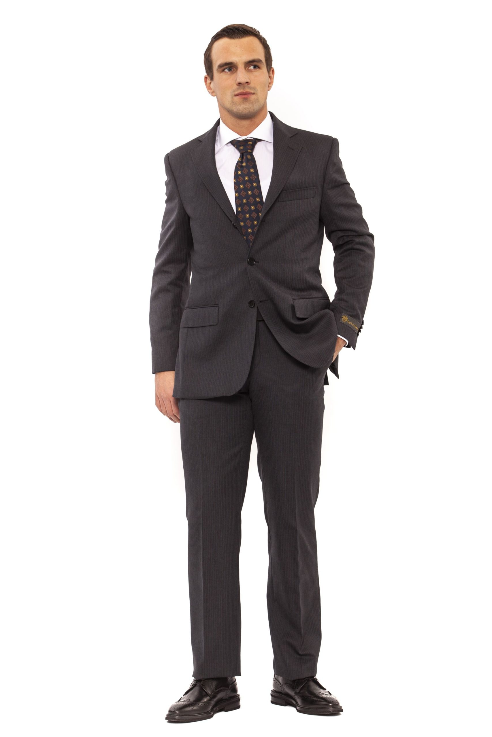 Ferre Men's Clothing Grig Suit Gray FE992744 - IT46   S