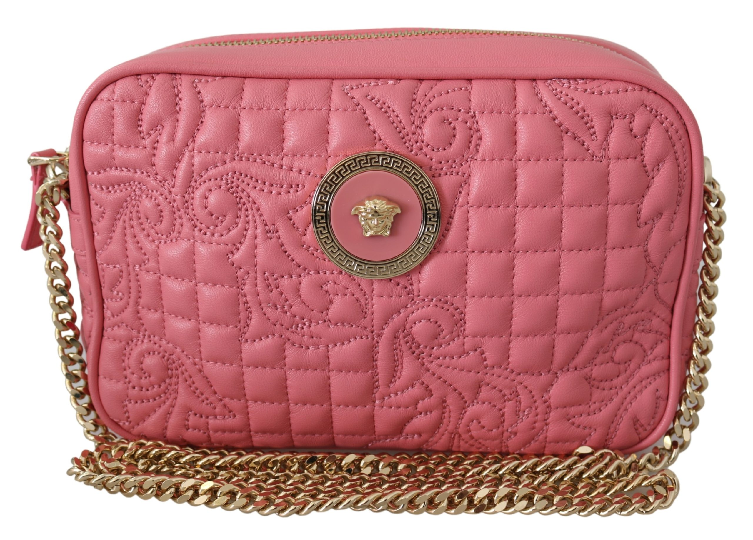 Versace Women's Quilted Nappa Leather Clutch Bag Pink 8053850413980