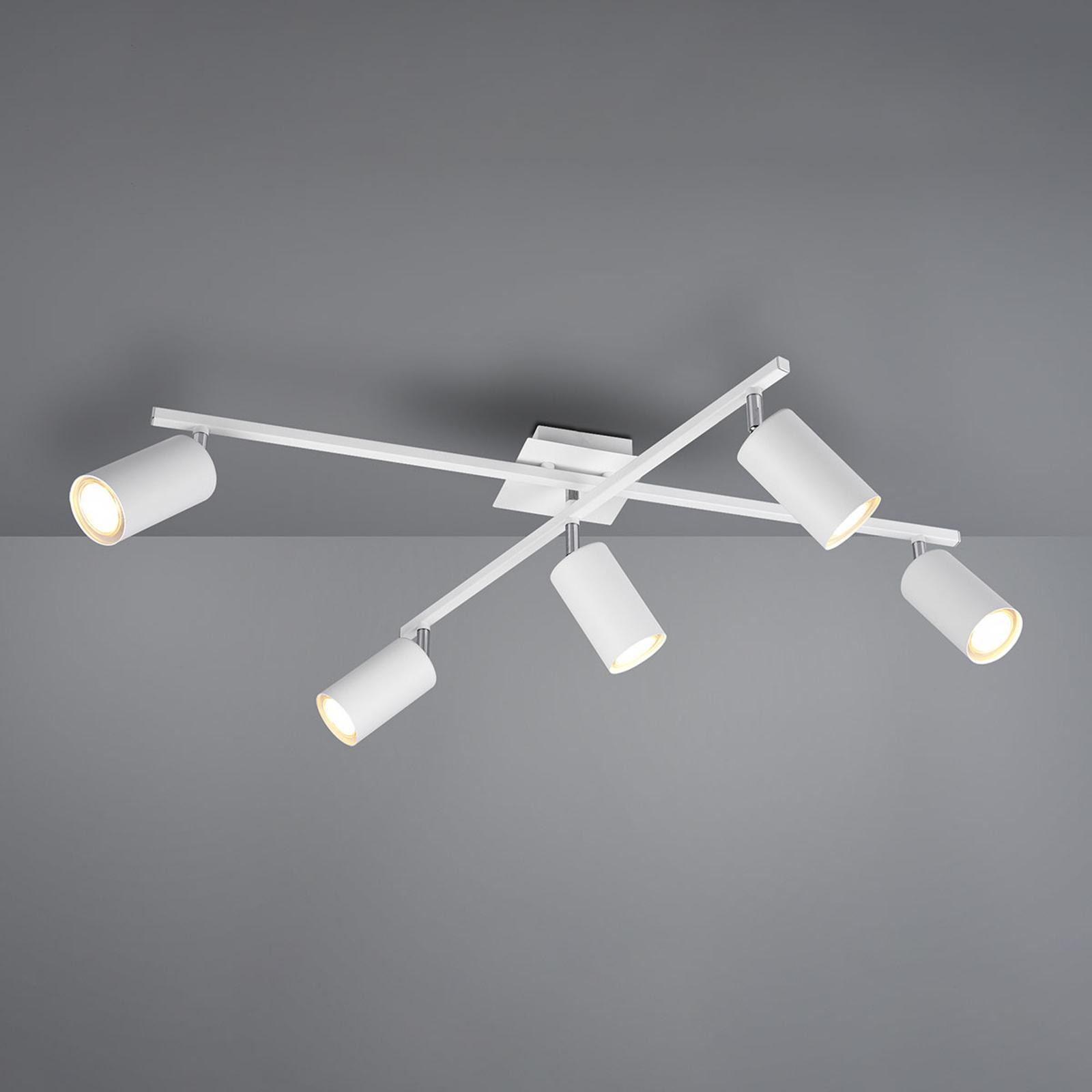 Kattokohdevalo Marley matta valkoinen 5-lamppuinen