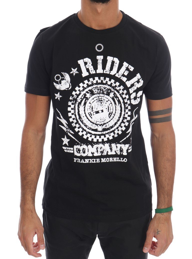 Frankie Morello Men's RIDERS Crew Neck T-Shirt Black White TSH1266 - S