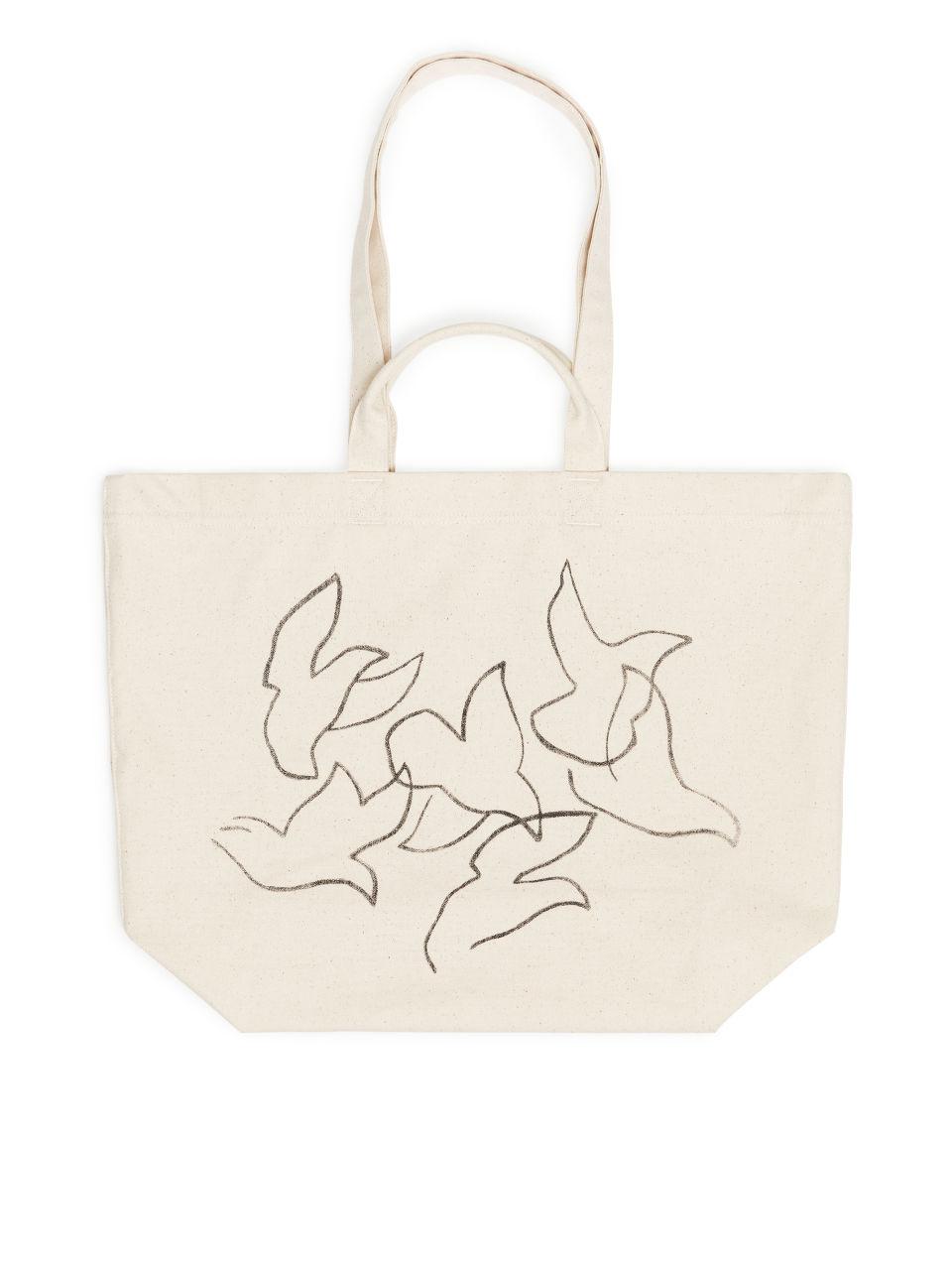 Bird Motif Canvas Tote Bag - White