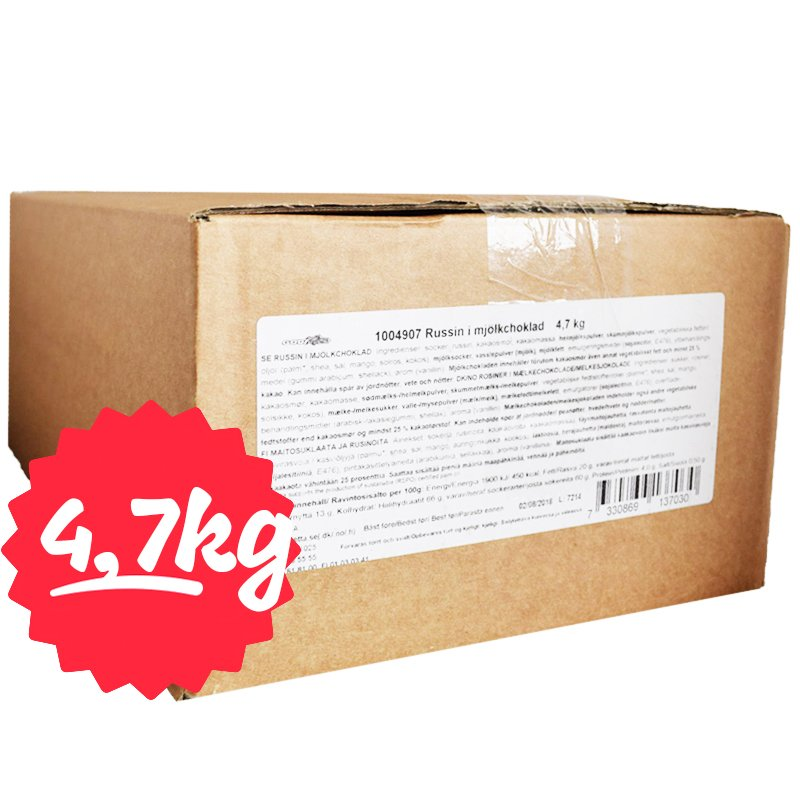 Laatikollinen suklaarusinoita 4700g - 70% alennus
