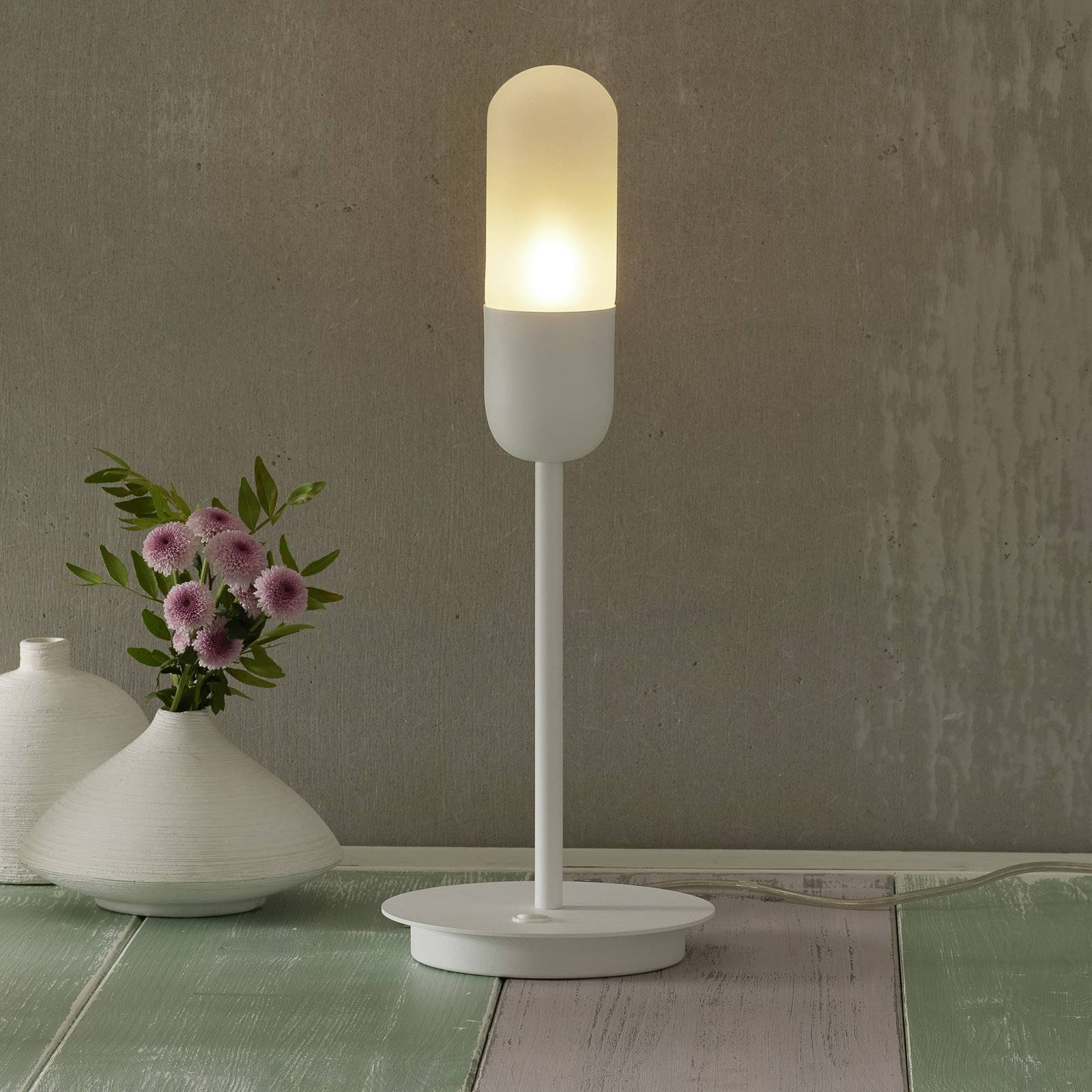 Bordlampe Capsule, hvit