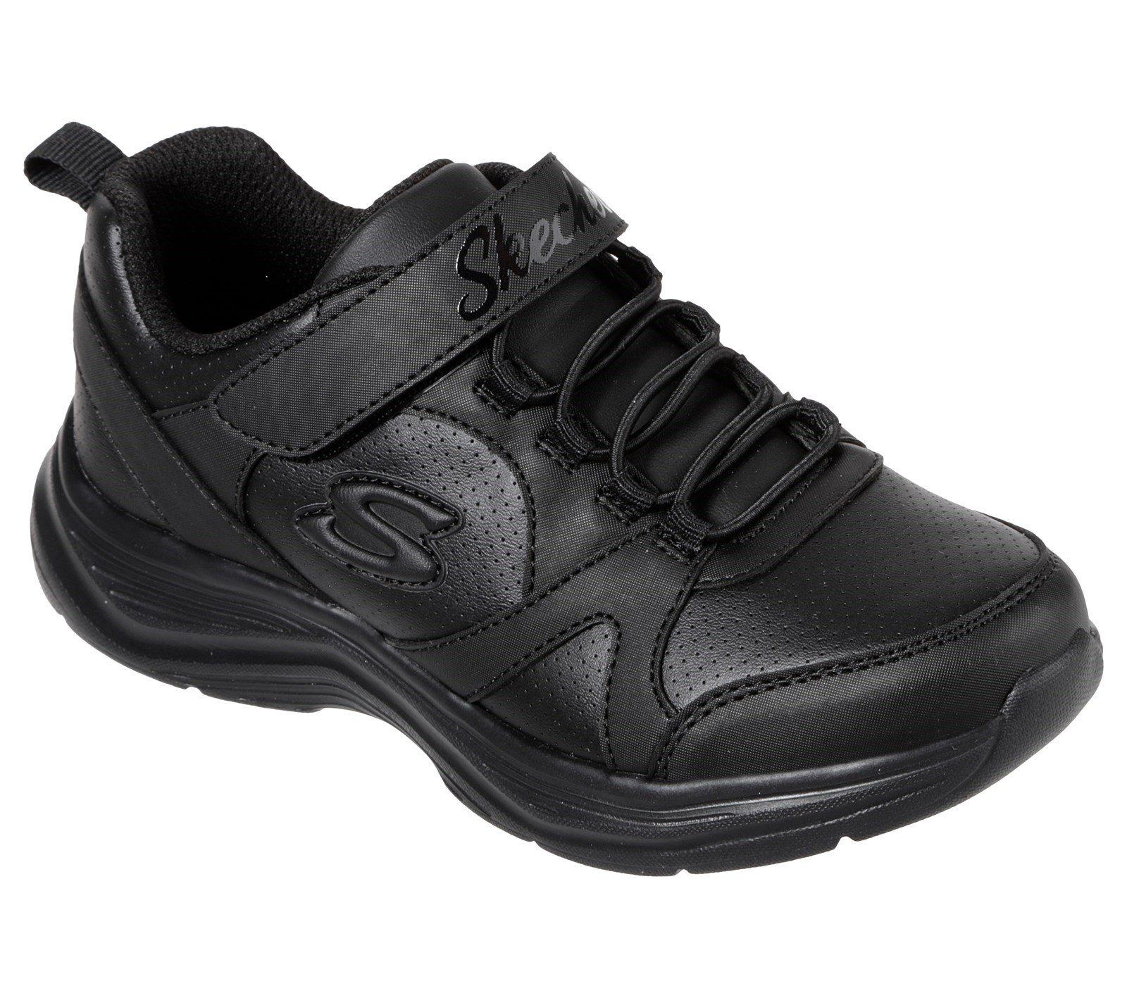Skechers Kid's Glim-K S-Struts School Trainer Black 32520 - Black/Black 9.5