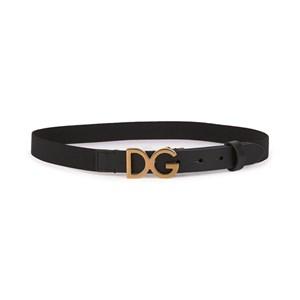 Dolce & Gabbana Elastiskt Läder Skärp Svart/Guld S 50cm (2-4 years)