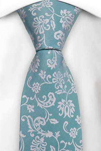 Silke Slips, Cyan blå, gulhvit fiskebeinmønstrete blomster, Turkis, Blomster