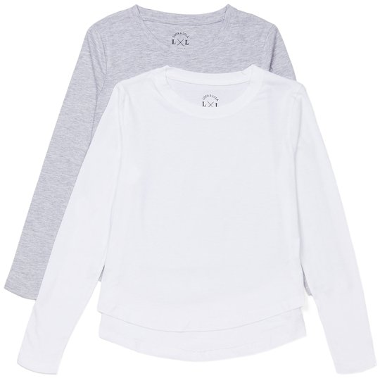 Luca & Lola Alfonsia Topp 2-pack, Grey Melange/White 134-140