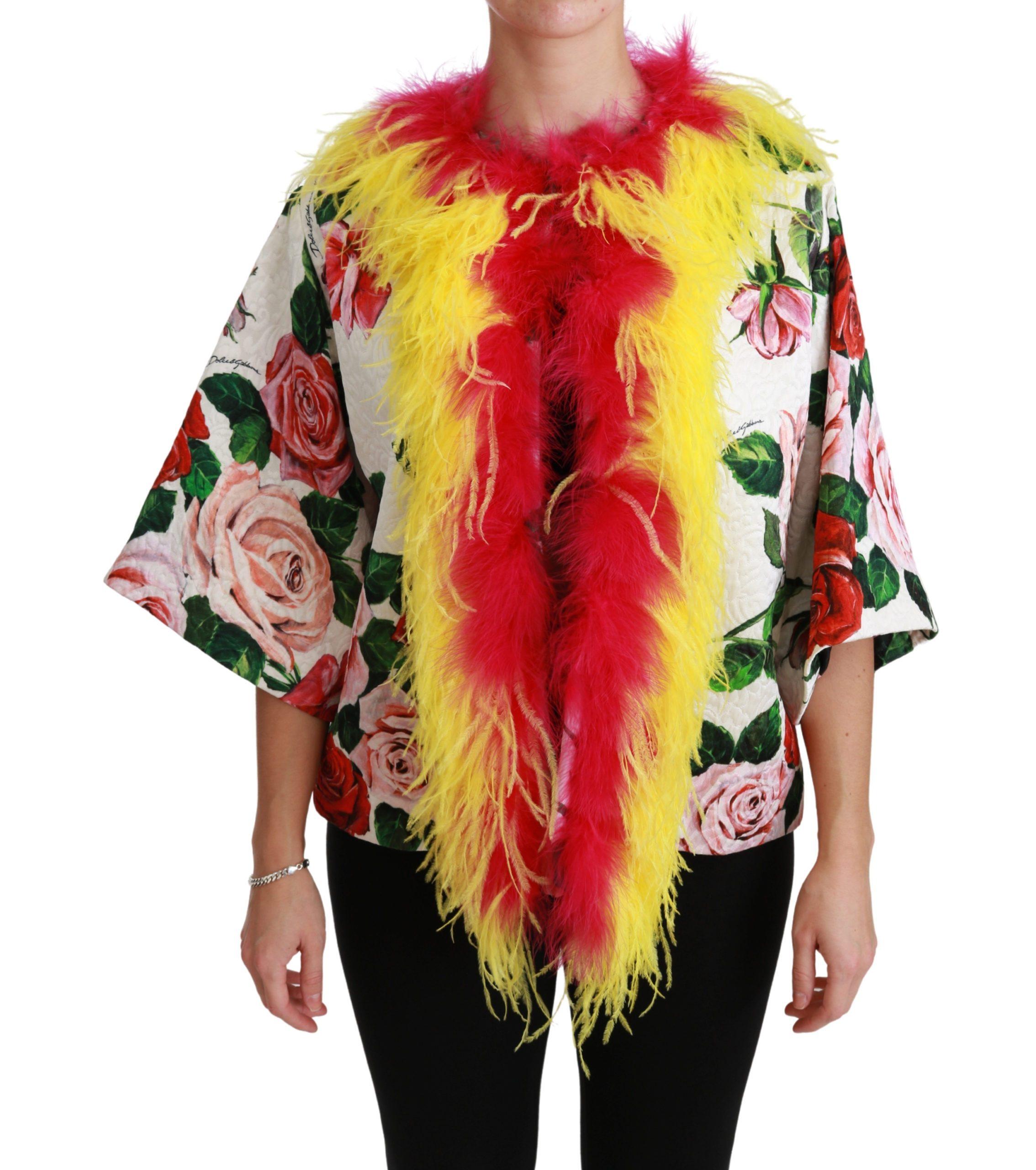 Dolce & Gabbana Women's Floral Coat Capte Fur Roses Jacket White JKT2573 - IT40 S