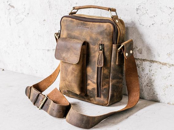 Men's Leather Shoulder Bag - The Indy