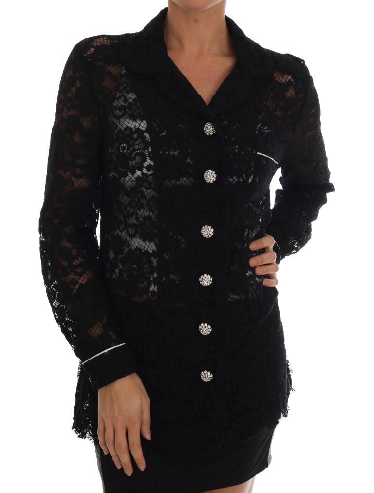 Dolce & Gabbana Women's Crystal Button Floral Lace Shirt Black TSH1631 - IT40 S