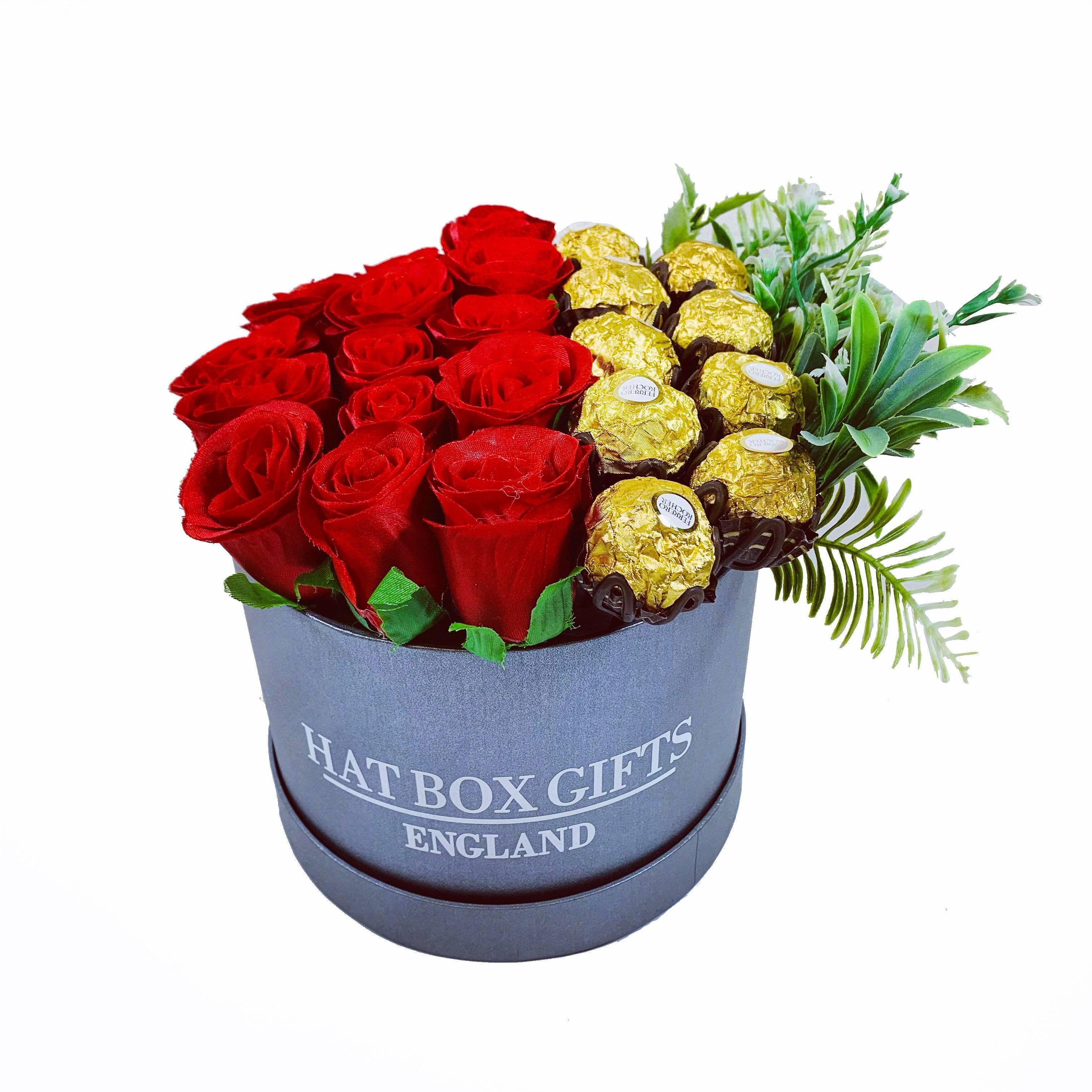 Hat Box with Display of Chocolates & Red Roses