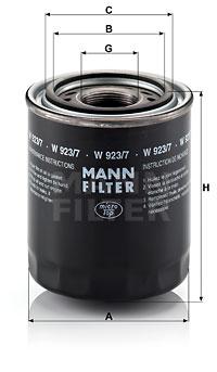 Hydrauliikkasuodatin, automaattivaihteisto MANN-FILTER W 923/7