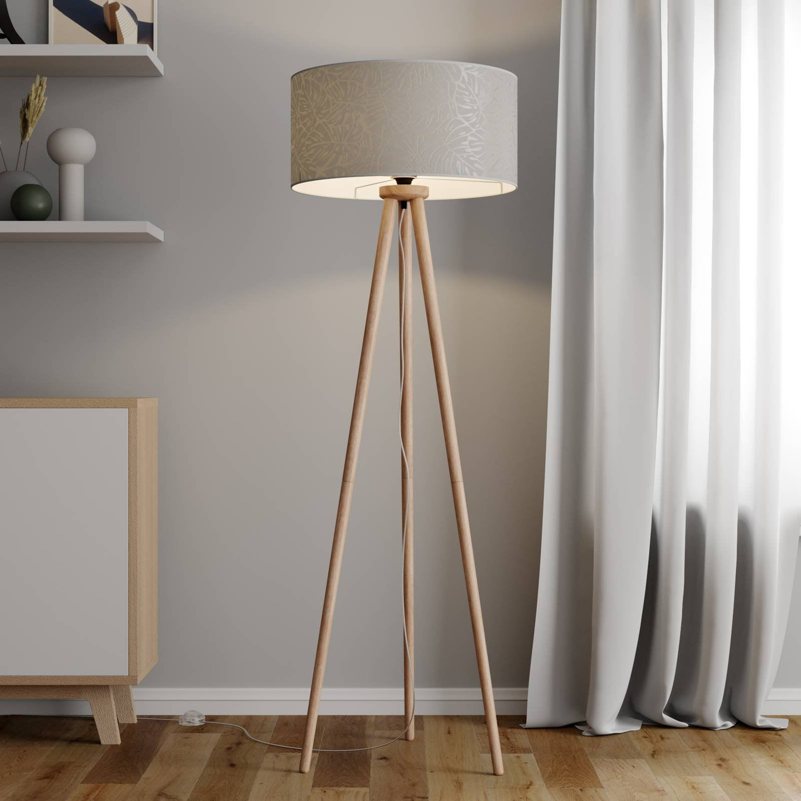 Gulvlampe Hierro med trykket lampeskjerm