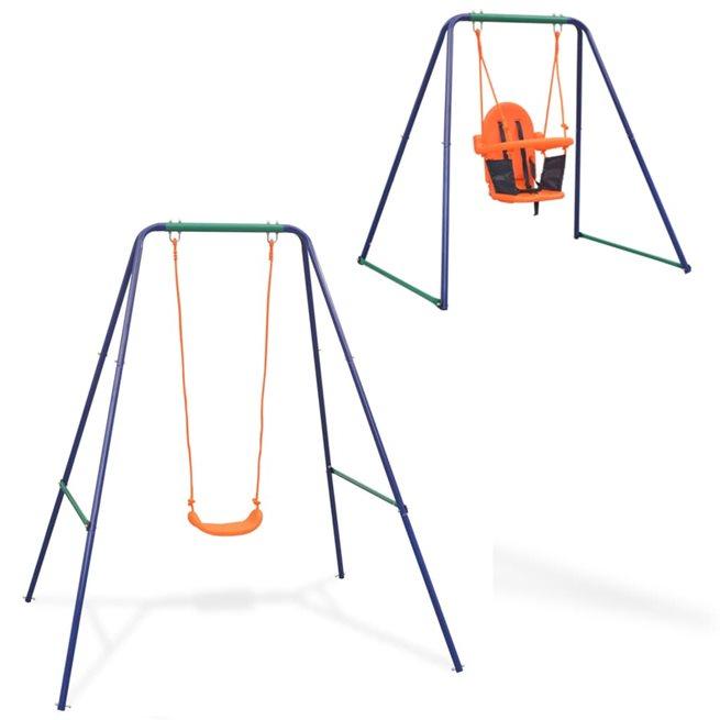 vidaXL 2-i-1 Enkelgunga och barngunga orange