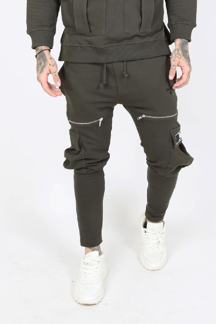 Kaarg Utility Zip Detail Cargo Men's Joggers - Khaki, Large